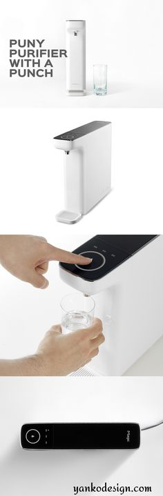 The Slim Sculpture purifier answers all of the questions with a minimalistic approach that takes up only 9cm of counter space and taps directly into your water line! Reduced to only the basic necessary functions, it's also tankless which makes it more hygienic than the average purifier. Read more at www.yankodesign.com