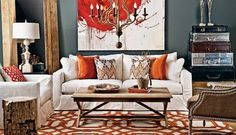 Orange/White/Beige/Red Living Room. Love it! Make the pillows in Bittersweet Dupioni from Fabric.com...
