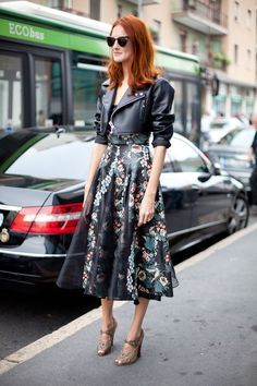 STREET STYLE SPRING 2013: MILAN FW - Taylor Tomasi Hill balances sweet and biker in a perfectly balanced ensemble.