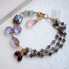 Gemstone Bracelet Wire wrapped Jewelry by lindatrentjewelry, $162.00