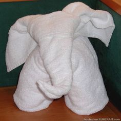 How To Fold A Towel Elephant Tutorial Step by step instructions on how to fold a towel elephant like this one.