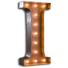 Vintage Marquee Lights Letter I Vml-i (1 955 SEK) ❤ liked on Polyvore featuring home, lighting, vintage marquee lights, colored lamps, metal lamp, vintage marquee light and colored lights