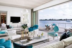 Modern White Living Room with Oceanfront Views