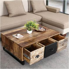 The industrial design maximizes form and function with a modern yet rustic design. Our Industrial Pioneer Mango Wood & Iron Coffee Table Chest . Iron Coffee Table, Coffee Table With Drawers, Unique Coffee Table, Coffee Table Styling, Rustic Coffee Tables, Contemporary Coffee Table, Decorating Coffee Tables, Coffee Table Design, Diy Storage Coffee Table