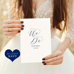 """Navy Wedding Program Template, folded order of service, Printable wedding program, front, back, inside, """"Beautiful"""" Edit in WORD or PAGES"""