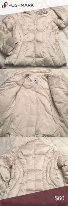 White House | Black Market Puffer Down Jacket WOW! I love this, but it is too small. Excellent condition. Very minor markings on front, just in need of dry cleaning. [dry clean only, friends!] Gorgeous off white nylon! 55% Duck down / 45% other filling. Stunning! Two zippered hand pockets. It is thick & warm; looks & feels expensive. A must have for any lady! Let me know if you have any questions. Bundle to save & happy poshing! White House Black Market Jackets & Coats