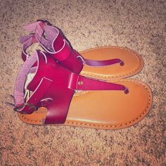 NEW American Eagle Outfitters Gladiator Sandals 7 These beautiful and stylish sandals have 2 buckles and are burgundy in color. Retail for $34.95 from American Eagle Outfitters. Listed for less on Merc! American Eagle Outfitters Shoes