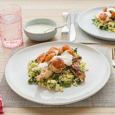 Tarragon Chicken with Lemon, Spinach and Leek Bulgur and Lemon Yoghurt