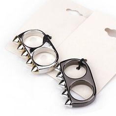 Black Silver Color Rivet Spike Punk Charming Finger Ring