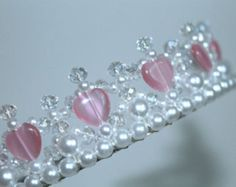 Bonita rosa corazón Princesa Tiara, Tiara de cristal, Tiara de cumpleaños, baile Tiara, Tiara de la muchacha de flor