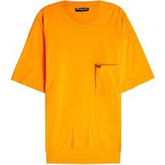 Balenciaga Cotton T-Shirt ($430) ❤ liked on Polyvore featuring tops, t-shirts, orange, balenciaga mens t shirt, mens cotton t shirts, mens orange shirt, mens cotton shirts and balenciaga mens shirts