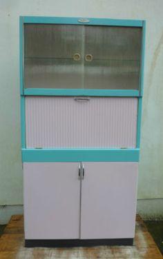 vintage larder cupboard - kitchenette retro re-painted, refurbed Kitchen Larder Cupboard, Pantry, Kitchen Cabinets, Kitchenette, Kitchen Furniture, Bathroom Medicine Cabinet, Baby Items, Locker Storage, Coupons