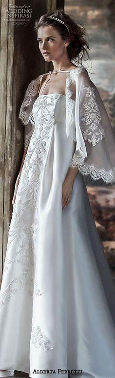 alberta ferretti bridal forever 2016 tiche strapless empire waist wedding dress embroidery lace cape capelet #empireweddingdress #weddingdresses