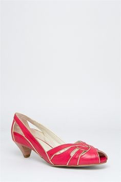 MARIANA  Michelle Casual Low Heel Shoe - Red Champagne
