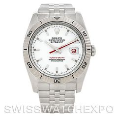 Rolex Turnograph Steel and 18k White Gold Watch 116264    There are a few unique Rolex watches and the Turnograph is one of them