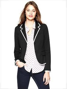 Basic black blazer with an updated punch of white trim. Perfect basic for busy moms.