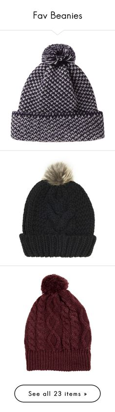 """Fav Beanies"" by ilovecupake ❤ liked on Polyvore featuring accessories, hats, beanies, other, peter jensen, beanie hats, stitch hat, cable knit beanie hat, cable knit pom pom beanie and topshop"