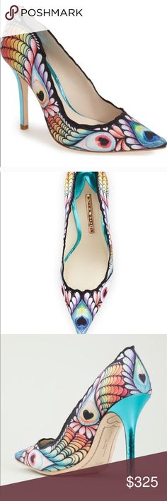 Sofia Webster multi color pump size 8.5 women Multi colored blue metal heel heart trade mark design brand new never worn no box perfect condition beautiful pump style shoe  very unique and stylish can be worn with multiple colors  half off store price brand new!!!! Last price drop get it now to save!!!!! sofia webster Shoes Heels