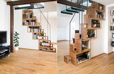 GALAN SOBRINI IDEAS. Otra de escaleras! Fijaros que escaleras más originales para un piso pequeño que al mismo tiempo sirven como espacio de almacenamiento!