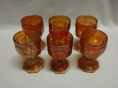 Imperial Colonial Pattern Marigold Carnival Glass Paneled Goblets Set of 6 #Imperial