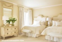 White guest bedroom with twin beds and white bedding, via @sarahsarna.