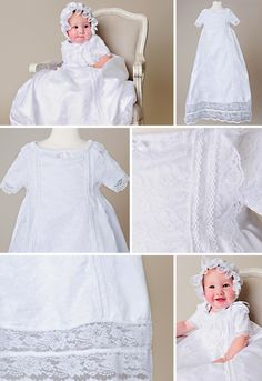 Our new Camilla Gown boasts lots of lace without being too frilly. This renaissance inspired christening gown is the epitome of heirloom quality. The bright white satin glossy lace offers a sense of sweet purity. Christening Gowns For Girls, Girls Baptism Dress, Blessing Dress, Satin Gown, White Satin, White Fabrics, Beautiful Gowns, Camilla, Pretty Hairstyles