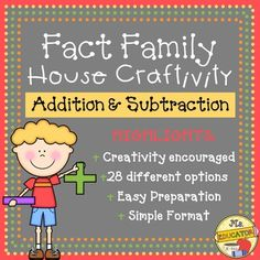 Fact+Family+House+Craftivity+-+Addition+&+Subtraction.+Students+can+practice+the+fact+family+relationship+with+this+math+craftivity.+Copy+the+house+onto+different+colored+paper+for+a+variety+of+houses.+Copy+the+windows+(numbers)+onto+yellow.+Then+distribute+the+different+strips,+depending+on+their+level,+to+the+students+(28+different+combinations+to+choose+from).