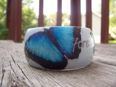Blue Morpho Monarch Butterfly Bracelet - decoupaged, hand painted, worded bangle on Etsy, $18.50