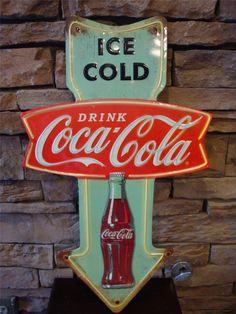 Coke Bottle Signs   ... *COCA COLA* Arrow Metal 3D Sign Coke Drink Bottle Button Gumball