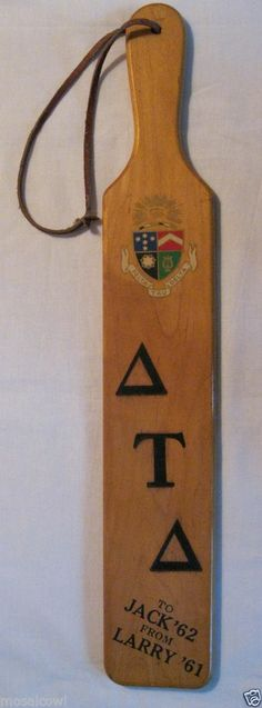 1960s Fraternity Paddle Delta Tau Delta, University of Kentucky KY.  For sale on ebay.