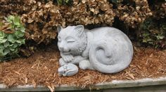 Large Concrete HAPPY CAT Statue by springhillstudio on Etsy
