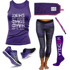 """""""HSPU Shirt"""" WOD Wear 021 by sarcy321 on Polyvore featuring Reebok, crossfit and CrossFitClothing"""