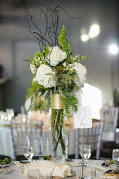 Tall Flower, Tall Fall Wedding Centerpieces, Fern Centerpieces, Minneapolis, Muse Event Center, Muse Event Center wedding, tall centerpiece, loose centerpiece, gold centerpiece, fern, willow, foliage | Luna Vinca