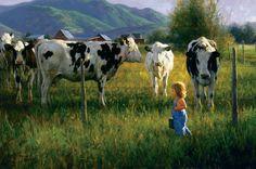 """Anniken and the Cows"" by Robert Duncan www.robertduncanstudios.com"