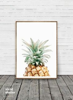 Pineapple Print Wall Art Prints Printable Kitchen Decor Botanical Tropical Watercolor Posters