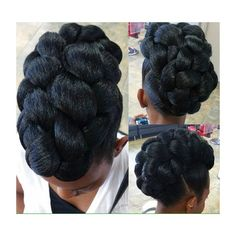 Braided updo with Kanekalon hair crocheted and curled to create the side bang. 35 Lovely braided updo with kanekalon hair. Pelo Natural, Natural Hair Updo, Natural Hair Care, Natural Hair Styles, Braided Hairstyles For Wedding, Easy Hairstyles, Protective Hairstyles, Evening Hairstyles, Natural Updo Hairstyles