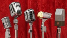 "Antique collectible microphones: Monarch TM-16, Stromberg-Carlson 12, ""Elvis"" mike Shure 55C, Astatic 600S, RCA 74B ""Junior Velocity"""