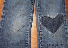 A Cute Way to Patch Jeans - perfect & fast for making pants last through camping trips.