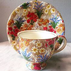 "Old Teacup ""wild flower"" by Royal Winton"