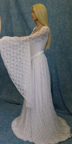 Galadriel white lace dress LOTR Renaissance medieval handfasting  wedding custom made