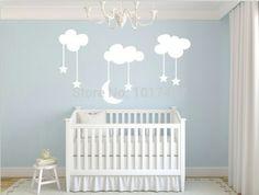 Sky blue nursery- love the clouds stars and moon