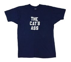 """70's 丸ポケ付き Tシャツ """"THE CAT'S ASS"""" 表記(XL)"""