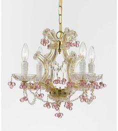 Crystorama 4474-GD-ROSA Maria Theresa 4 Light Rosa Crystal Gold Mini Chandelier