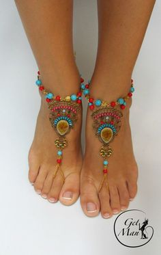 Coral de pies descalzos sandalias pulseras para por GetManJewelry