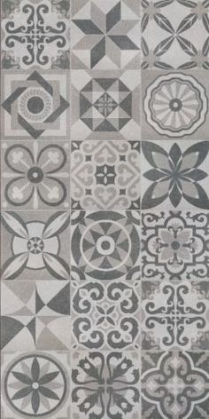 Florence Patchwork Decor Floor Tiles 50x50cm These vintage effect floor tiles come as a random mix of patterns. Perfect for an on trend project with its greys and black colour palette. Use with the silver or grey base tile to add a border effect.