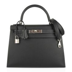 Guaranteed authentic rare and exquisite Limited Edition Hermes Kelly Un Point 28 Sellier bag Black. Hermes Birkin, Hermes Kelly Bag, Hermes Box, Hermes Handbags, Fashion Wear, Fashion Bags, Purse Wallet, Shoulder Strap, Purses