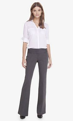 studio stretch wide waistband flare editor pant from EXPRESS in Medium Charcoal