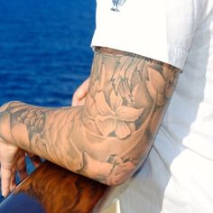 """In this age of self-desecrating self-expression, there is rarely such thing as just one tattoo. John Mellencamp reminds us that """"it hurts so good"""" – yet most of us with chronic conditions like back pain, migraine and fibromyalgia would say """"pain sucks! Forearm Sleeve, Arm Sleeve Tattoos, Japanese Sleeve Tattoos, Tattoo Sleeve Designs, Tattoo Designs Men, Cloud Tattoo Sleeve, Arm Tats, Tattoo Forearm, Tattoos Arm Mann"""