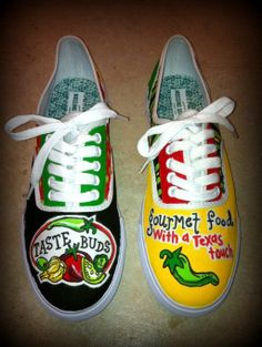 Custom painted shoes for a local business in Wimberley, Texas. Taste Buds is a lovely store on the iconic square!