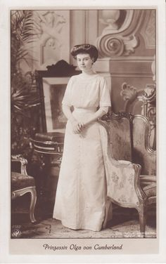 Princess Olga of Hanover and Cumberland.  She was a daughter of Crown Prince Ernest Augustus of Hanover and his wife, Princess Thyra of Denmark.  Olga was a niece of Tsarina Maria Feodorovna of Russia. Olga was also titled a Princess of Great Britain and Ireland because of her royal ancestry.  She chose not to marry and lived a long and happy life.